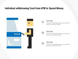 Individual Withdrawing Cash From ATM To Spend Money