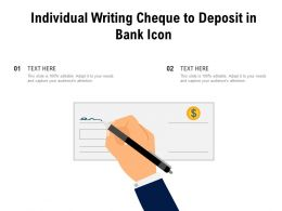 Individual Writing Cheque To Deposit In Bank Icon