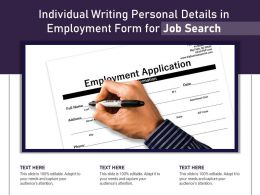 Individual Writing Personal Details In Employment Form For Job Search
