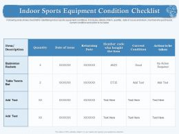 Indoor Sports Equipment Condition Checklist M1870 Ppt Powerpoint Presentation Icon Graphics