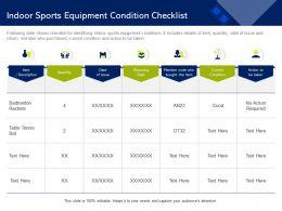 Indoor Sports Equipment Condition Checklist Tennis Bat Ppt Powerpoint Presentation Outline Information