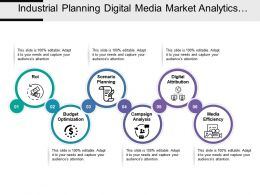 Industrial Planning Digital Media Market Analytics With Icons And Circles