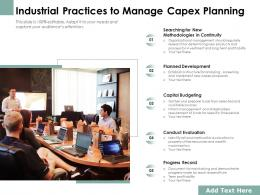 Industrial Practices To Manage Capex Planning