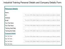 Industrial Training Personal Details And Company Details Form