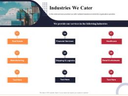 Industries We Cater Marketing And Business Development Action Plan Ppt Professional