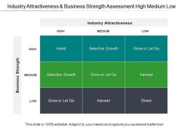 Industry Attractiveness And Business Strength Assessment High Medium Low
