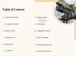 Industry Outlook Table Of Content Ppt Powerpoint Presentation Slides Grid