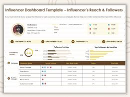Influencer Dashboard Template Influencers Reach And Followers Ppt Presentation Outline