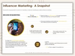 Influencer Marketing A Snapshot Social Media Ppt Powerpoint Presentation Model