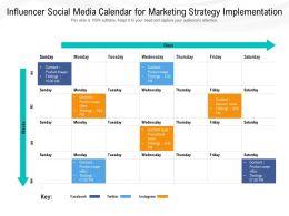 Influencer Social Media Calendar For Marketing Strategy Implementation
