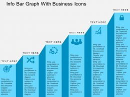Info Bar Graph With Business Icons Flat Powerpoint Design