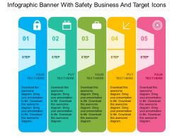 Infographic Banner With Safety Business And Target Icons Flat Powerpoint Design