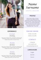Infographic Resume Design Editable A4 CV Format Template