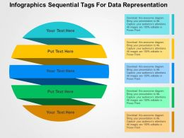 Infographics Sequential Tags For Data Representation Flat Powerpoint Design