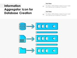 Information Aggregator Icon For Database Creation