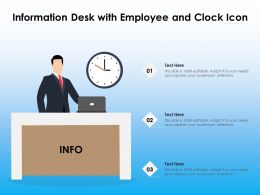 Information Desk With Employee And Clock Icon
