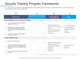 Information Security Awareness Security Training Program Frameworks Ppt Powerpoint Show