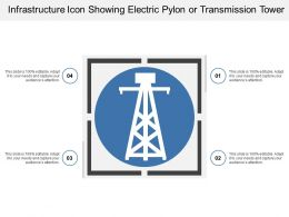 Infrastructure Icon Showing Electric Pylon Or Transmission Tower