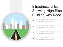 Infrastructure Icon Showing High Rise Building With Road