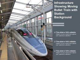 Infrastructure Showing Moving Bullet Train With Station Background