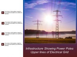 Infrastructure Showing Power Poles Upper Lines Of Electrical Grid