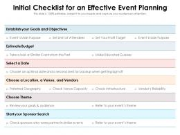Initial Checklist For An Effective Event Planning