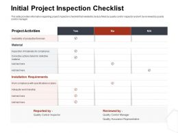 Initial Project Inspection Checklist Activities Ppt Gallery Inspiration