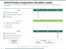 Initial Project Inspection Checklist Contd Safety Officer Powerpoint Presentation Graphic Images