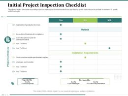 Initial Project Inspection Checklist Workmanship Actions Ppt Powerpoint Presentation Clipart