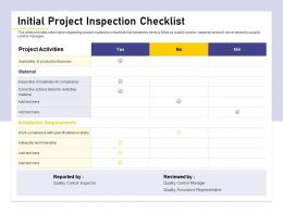Initial Project Inspection Checklist Workmanship Ppt Powerpoint Presentation Professional Show