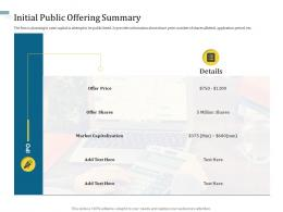 Initial Public Offering Summary Understanding Capital Structure Of Firm Ppt Infographics