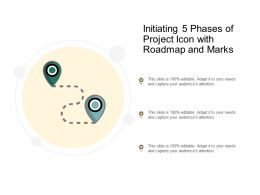 Initiating 5 Phases Of Project Icon With Roadmap And Marks