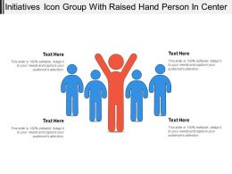 Initiatives Icon Group With Raised Hand Person In Center