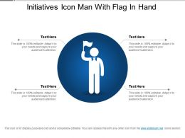 Initiatives Icon Man With Flag In Hand