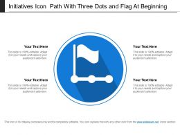 Initiatives Icon Path With Three Dots And Flag At Beginning