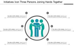 Initiatives Icon Three Persons Joining Hands Together