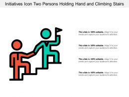 Initiatives Icon Two Persons Holding Hand And Climbing Stairs