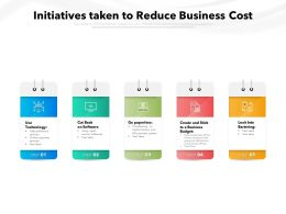 Initiatives Taken To Reduce Business Cost