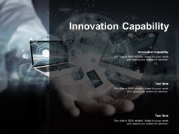 Innovation Capability Ppt Powerpoint Presentation Pictures Graphics Cpb