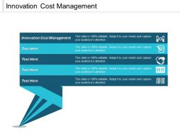 Innovation Cost Management Ppt Powerpoint Presentation Infographic Template Master Slide Cpb