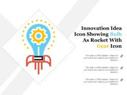 Innovation Idea Icon Showing Bulb As Rocket With Gear Icon