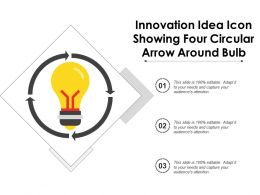 Innovation Idea Icon Showing Four Circular Arrow Around Bulb