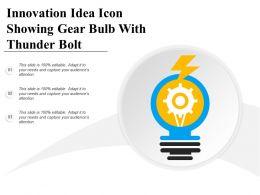 Innovation Idea Icon Showing Gear Bulb With Thunder Bolt