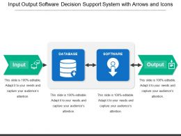 Input Output Software Decision Support System With Arrows And Icons