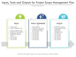Inputs Tools And Outputs For Project Scope Management Plan