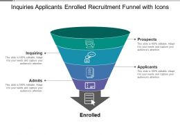 Inquiries Applicants Enrolled Recruitment Funnel With Icons