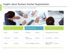 Insights About Business Market Segmentation Firm Guidebook Ppt Icon