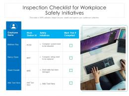 Inspection Checklist For Workplace Safety Initiatives