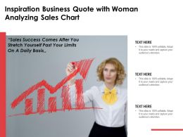 Inspiration Business Quote With Woman Analyzing Sales Chart