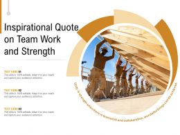 Inspirational Quote On Team Work And Strength